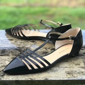 Ivanka Trump Toey Pointed Toe Flat T-Strap Leather